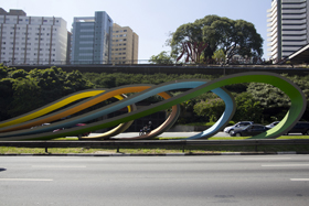 SAO PAULO, BRAZIL - APRIL 25: View of monument of Tomie Ohtake on 23 de Maio Avenue on April 25, 2013 in Sao Paulo, Brazil. (Photo by Rosanna Rüttinger/LatinContent/Getty Images)